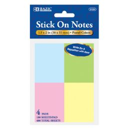 "288 Units of Bazic 100 Ct. 1.5"" X 2"" Stick On Notes (4/pack) - Dry Erase"