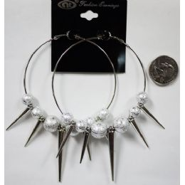 96 Units of Silver Colored Big Loop With Spike Earring - Earrings