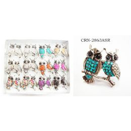 96 Units of Double Owls On A Branch Assorted Colors - Body Jewelry
