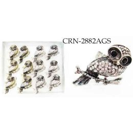 96 Units of Rings Single Owl on a Branch with Rhinestone - Rings