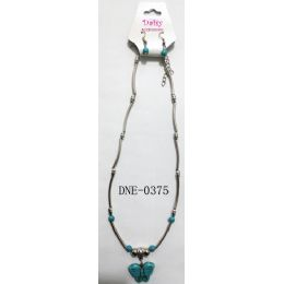 96 Units of Necklace Turquoise Color Butterfly Pendant Earring Set - Necklace