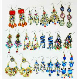 60 Units of Retro Vintage Earring With Stones - Earrings