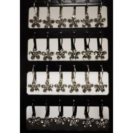 96 Units of Flower Shaped Rhinestone Dangling Earring - Earrings