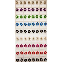 108 Units of Flower Shaped Rhinestone Center Earring Studs - Earrings