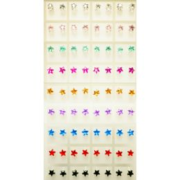 108 Units of Star Shaped Earring Studs Assorted Colors - Earrings