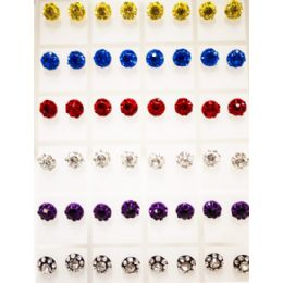 96 Units of Round Rhinestone Studded Earring Studs - Earrings