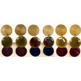 96 Units of Round Shaped Dangling Earring Assorted Colors - Earrings