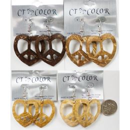 96 Units of Heart Peace Sign Earring Assorted Colors - Earrings