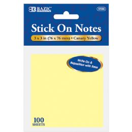 """36 Units of Bazic 100 Ct. 3"""" X 4"""" Yellow Stick On Notes - Dry Erase"""