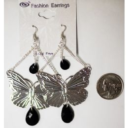 96 Units of Silver Colored Butterfly Earrings - Earrings
