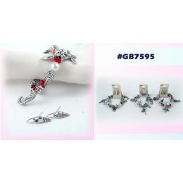 96 Units of Bracelet Earring Set With Star Fish Sea Horse - Earrings