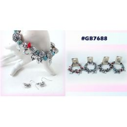 96 Units of Bracelet Earring Set With Dolphin Whale - Earrings