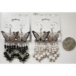 96 Units of Butterfly Earring With Hanging Beads - Earrings