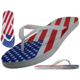 48 Units of Women's Us Flag Printed Fip Flops - Unisex Footwear