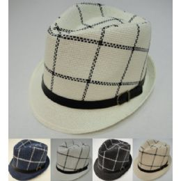 12 Units of Fedora Hat with Buckled Hat Band [Windowpane Check] - Bucket Hats