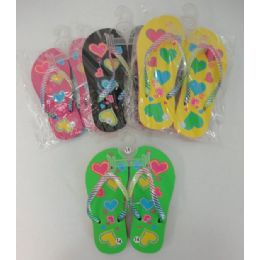 48 Units of Girl's Flip Flops [hearts] - Girls Flip Flops