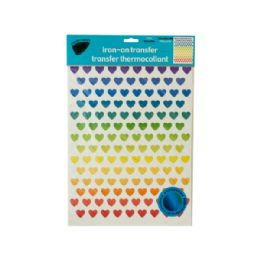 288 Units of Iron-On Foil Rainbow Hearts Transfers Set - Stickers