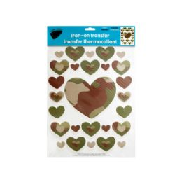 144 Units of Iron-On Camouflage Hearts Transfers - Stickers