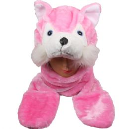 24 Units of Animal Hat Pink Fox - Winter Animal Hats
