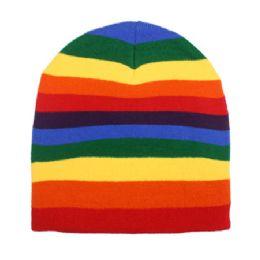 36 Units of Rainbow Winter Beanie Hat - Winter Beanie Hats