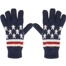 36 Units of GLOVE AMERICAN FLAG - Knitted Stretch Gloves