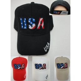 24 Units of Usa [stars & Stripes Letters] Hat - Baseball Caps & Snap Backs