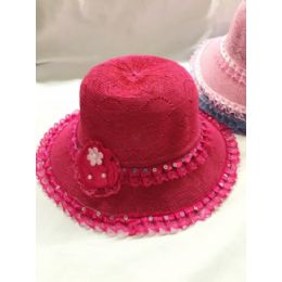 24 Units of GIRLS DRESS HAT WITH FLOWER ASSORTED COLORS - Church Hats