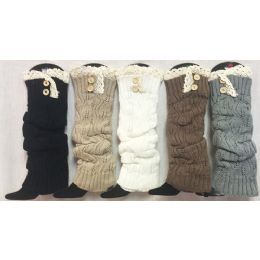 12 Units of Solid Color Knitted Long Boot Topper Crochet Top Button - Womens Leg Warmers