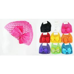 96 Units of Kids' Crochet Hats with bow in Assorted Colors - Baby Accessories
