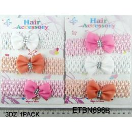 96 Units of HairBand with Bow Tie - Headbands