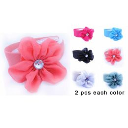 96 Units of Silky Flower Hairwrap Headband with Assorted Colors - Headbands