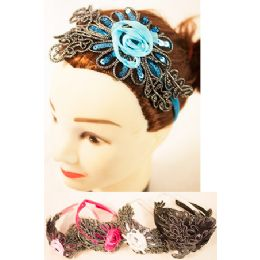 96 Units of Floral Lace Headband with sequins - Headbands