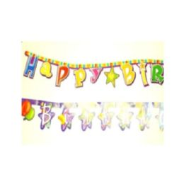 288 Units of Happy Birthday Paper Joint Banners - Party Banners