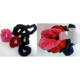 108 Units of Velvet Hair Ties Pony Holder 6pcs/cartd Ast Colors - PonyTail Holders
