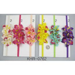 96 Units of Multicolor Flower Head Wraps - Head Wraps