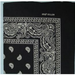 108 Units of Bandana Cotton Black Paisley Fabric