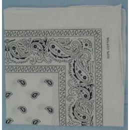 108 Units of Bandana Cotton White Paisley Fabric - Bandanas