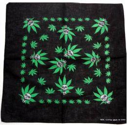 108 Units of Bandana-Black w Green Marijuana & Skulls