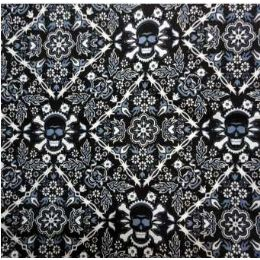 108 Units of Bandana-Blue/Black /White Print w Skulls