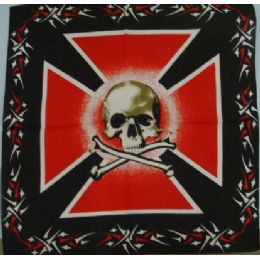 108 Units of Bandana Cotton Maltese Skull & Bones - Bandanas