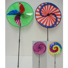 "24 Units of 15.5"" Round Wind Spinner-4 Styles - Garden Decor"