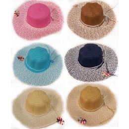 24 Units of Wholesale Lady's Summer Sun Hat With Bow Assorted Colors - Sun Hats