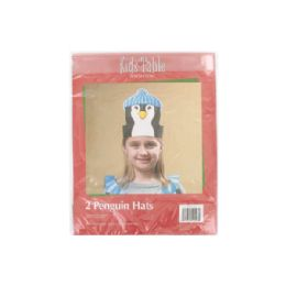 144 Units of Holiday Fun penguin hats, pack of 2 - Party Novelties