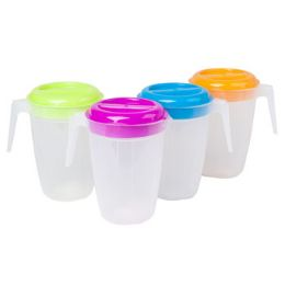 48 Units of Pitcher 2 Qt 4 Summer Lid Colors With Frosted Bottom - Plastic Drinkware