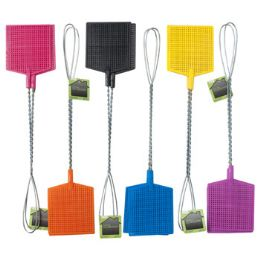 48 Units of Rect Shape 6color 2pk Metal Handle Fly Swatter - Pest Control