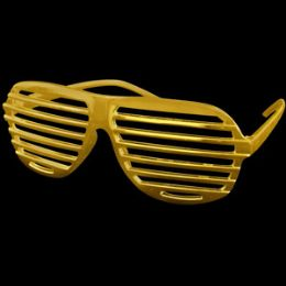 12 Units of Metallic Gold Slotted Shades - Costumes & Accessories