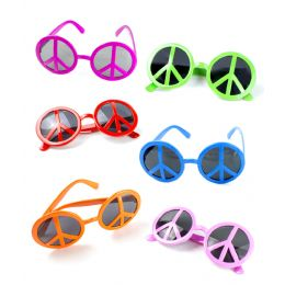 25 Units of Peace Sign Sunglasses - Assorted 12ct - Costumes & Accessories