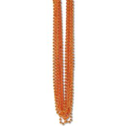 60 Units of 33 Inch 7mm Metallic Bead Necklaces - Orange 12ct - LED Party Supplies