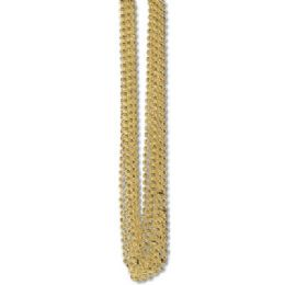 60 Units of 33 Inch 7mm Metallic Bead Necklaces - Gold 12ct - LED Party Supplies