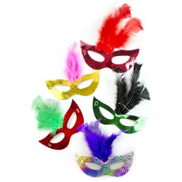 288 Units of Prismatic Feather Masks Assorted 6ct - LED Party Supplies